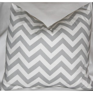 Taylor Marie Grey and White Chevron Zig Zag Throw Pillow Cover (18 x 18 inches)
