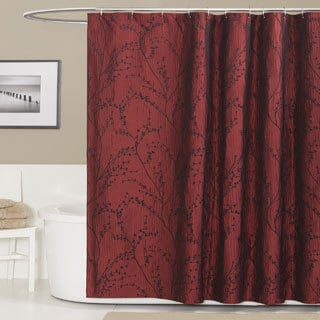 Lush Decor Flower Texture Red Shower Curtain