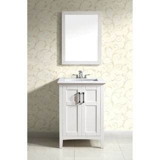 Salem White 24-inch Bath Vanity with 2 Doors and White Marble Top
