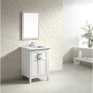 WYNDENHALL Salem White 24-inch Bath Vanity with 2 Doors and White Quartz Marble Top