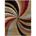 Meticulously Woven Contemporary Mets Multi Colored Abstract Shag Rug (5'3 x 7'3)