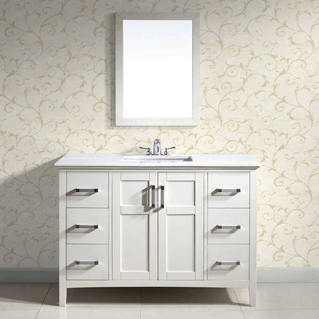 WyndenHall Salem White 48-inch Bath Vanity with 2 Doors and White Marble Top at Sears.com