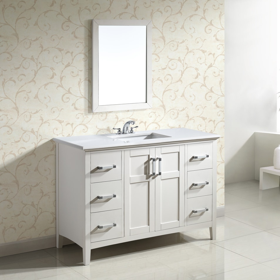 salem white 48 inch bath vanity with 2 doors and white quartz marble