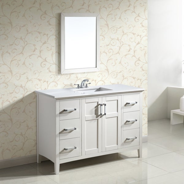 Salem white 48 inch bath vanity with 2 doors and white for Bathroom 48 inch vanity