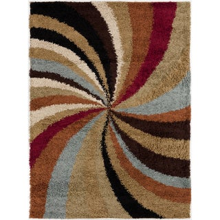 Contemporary Mets Multi Colored Abstract Shag Rug (2' x 3')