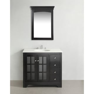 Louisiana Black 36-inch Bath Vanity with 2 Doors and White Marble Top