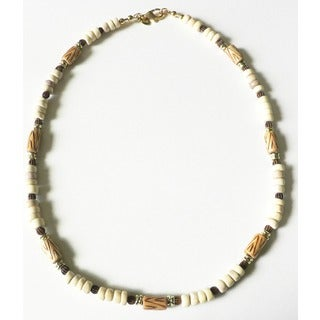 "Palmtree Gems 19"" 'El Camino' Sea Urchin Wood and Bone Men's Necklace"