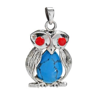 Sterling Silver Unique Owl Bird Gemstone Centered Pendant (Thailand)