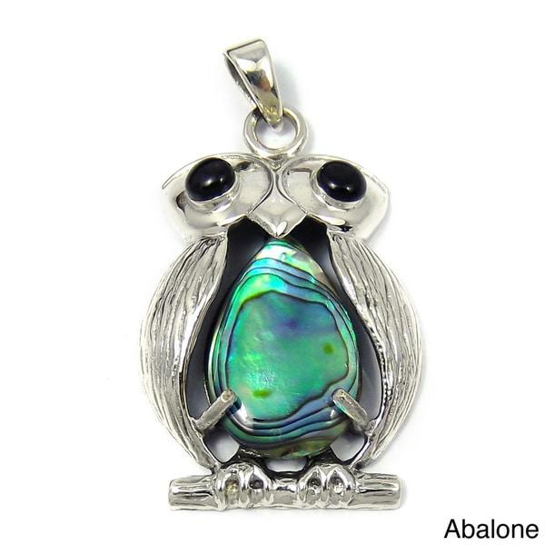Sterling Silver Unique Owl Bird Gemstone Centered Pendant (Thailand)
