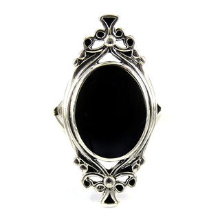 Sterling Silver Oval Black Onyx Vintage Style Ring (Thailand)