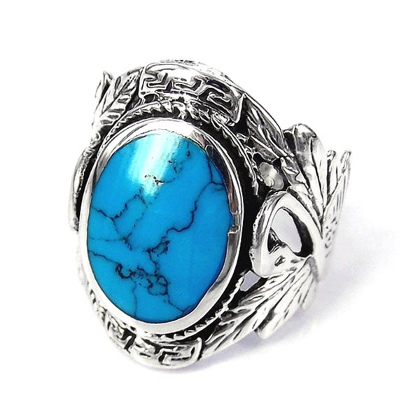 Sterling Silver Beautiful Couple Swan Oval Turquoise Ring (Thailand)