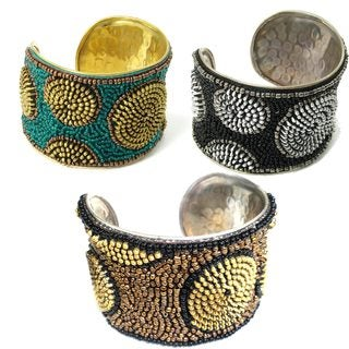 Handmade Zipper Beaded Cuff (India)