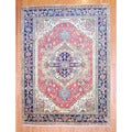 Indo Hand-knotted Heriz Red/ Navy Wool Rug (9' x 12')