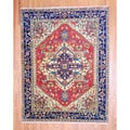 Indo Hand-knotted Heriz Red/ Navy Wool Rug (8' x 10')
