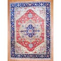 Indo Hand-knotted Heriz Red/ Navy Wool Rug (10' x 14')