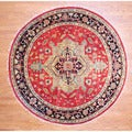 Indo Hand-knotted 8' x 8' Round Heriz Red/ Black Wool Rug (India)