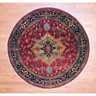 Indo Hand-knotted 6' x 6' Round Heriz Red/ BlackWool Rug (India)