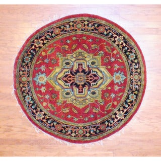 Indo Hand-knotted 5' x 5' Round Heriz Red/ Black Wool Rug (India)