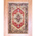 Indo Hand-knotted 4' x 6' Heriz Red/ Black Wool Rug (India)