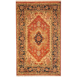 Indo Hand-knotted Heriz Red/ Navy Wool Rug (3' x 5')