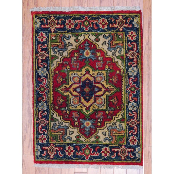 Herat Oriental Hand Tufted Wool Red Black Area Rug: Herat Oriental Indo Hand-knotted Heriz Red/ Navy Wool Rug