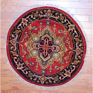 Indo Hand-knotted 3' x 3' Round Heriz Red/ Black Wool Rug (India)