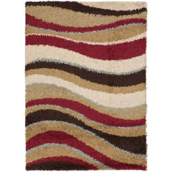 Contemporary Soacha Red Striped Woven Shag Rug (2' x 3')