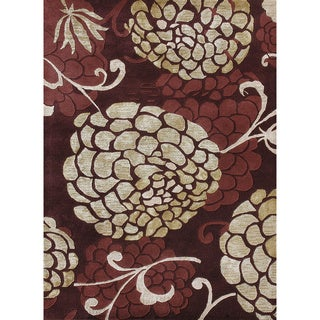 Hand-tufted Jackson Wine Wool Rug (5'0 x 7'6)