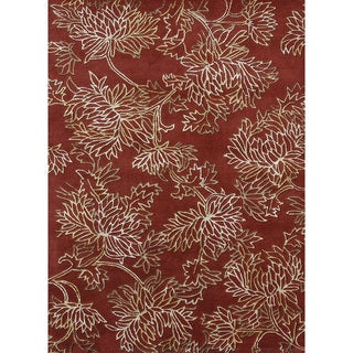 Hand-tufted Jackson Red Wool Rug (7'10 x 11'0)