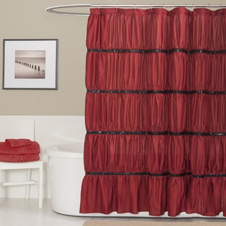 Lush Decor Twinkle Red Shower Curtain