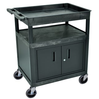 Luxor Black Heavy-duty Utility Cart with Locking Cabinet