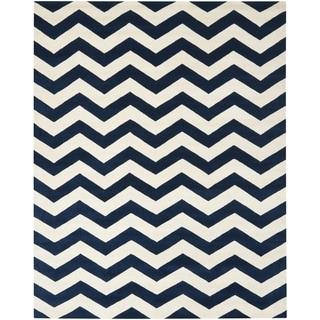 Safavieh Handmade Moroccan Chatham Chevron Dark Blue Wool Rug (8'9 x 12')