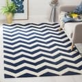 Handmade Chevron Dark Blue Wool Rug (8'9 x 12')
