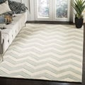 Handmade Chevron Grey Wool Rug (10' x 14')