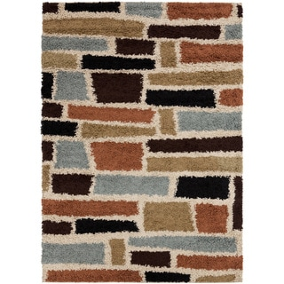 Meticulously Woven Contemporary Royals Orange Geometric Shag Rug (5'3 x 7'3)