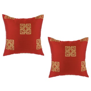 Key Lipstick Embroidered Cinnabar 17-inch Decorative Pillows (Set of 2)