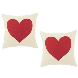 Linen Natural 17-inch Linen Heart Throw Pillows (Set of 2)