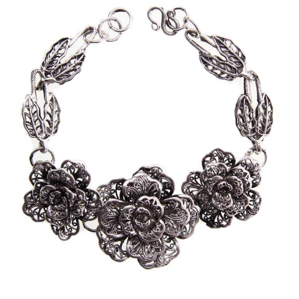 Miao Silver Three Rose Bracelet (China)