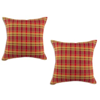 Plaid Crimson Cognac 17-inch Decorative Pillows (Set of 2)