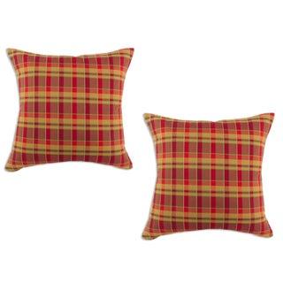 Plaid Crimson Cognac 17-inch Decorative Pillows (Set of 2)