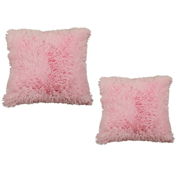 Shaggy Pink 17-Inch Hypoallergenic Decorative Pillows (Set of 2)