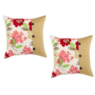 Sydney Rainforest Hyannis Palomino Brown Buttons 19-inch Pillow (Set of 2)