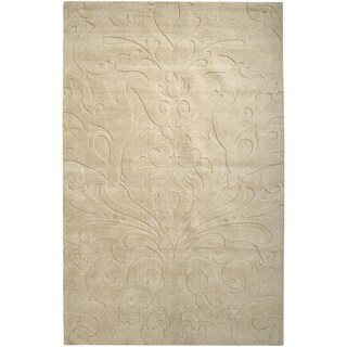 Candice Olson Loomed Pitalito Beige Solid Damask Pattern Wool Rug (2' x 3')