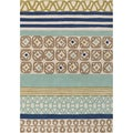 Hand-tufted Bello Blue Multi-pattern Wool Rug (5' x 8')