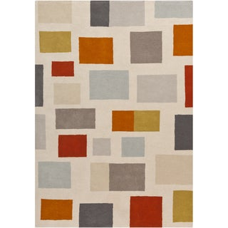 Hand-tufted Contemporary Eagles Multi Geometric Wool Rug (8' x 11')
