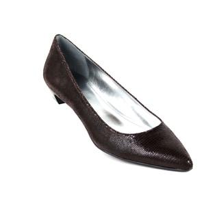 Calvin Klein Women's 'Pepin' Leather Lizard Print Kitten Heel Shoes