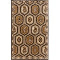 Hand-tufted Domino Medallion Vanilla Semi-Worsted New Zealand Rug (5' x 8')