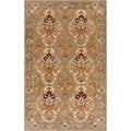 Hand-tufted Aaron Floral Border Parchment Semi-worsted New Zealand Wool Rug (5' x 8')