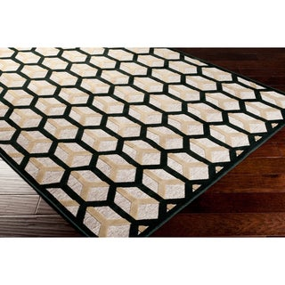 Balduin Contemporary Black Geometric Rug (5'2 x 7'6)