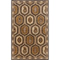 Hand-tufted Domino Medallion Semi-worsted New Zealand Wool Rug (2' x 3')